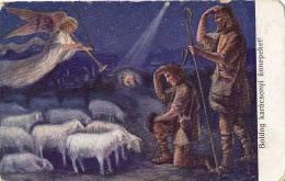 AK ENGEL ANGEL ,A.F.W. III/2. Nr. 554.ANGEL HIRTEN Verkündet Die Geburt Jesu  OLD POSTCARD - Angels