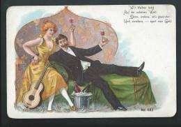 Superbe Lithographie Art-nouveau. Un Couple Joyeux, Seau à Glace, Champagne, Guitare,... - Illustrators & Photographers