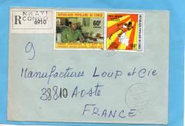 MARCOPHILIE-lettre- REC-Congo- -cad-NKAYI 1978-2 Stamps  N° A231 Sport-course à Pied +pt Ngouabi-pour Françe - Congo - Brazzaville