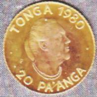 @Y@   Tonga  20 Paanga  1980  Unc  Goud / Gold   (1412)  FAO - Tonga