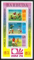 """1974 Barbuda """"Monaco74"""" Coppa Del Mondo World Cup Coupe Du Monde Calcio Football Block MNH** D298 - Coppa Del Mondo"""