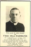 Souvenir Mortuaire - Abbé ALBERT HARMIGNIE (1876-1944) - Devotion Images