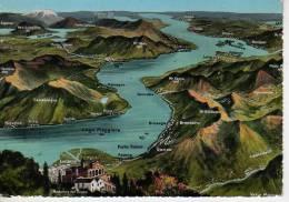 MAPA DE LA ZONA DEL LAGO MAGGIORE ILUSTRACION LIMITE ENTRE SUIZA  E ITALIA   OHL - Landkaarten