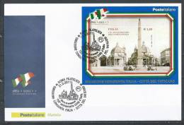 Italy. Scott # 3046 FDC S/sheet. 150th. Anniv. Of Unity Of Italy. Joint Issue With San Marino 2011 - Emissioni Congiunte