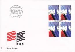 No 806 En Bloc De Quatre - Bern 800 - FDC 22.2.1991 - FDC