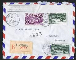 1954  Lettre  Recommandée Par Avion Pour Le Canada  Yv  335, 341 X 2 - St.Pierre & Miquelon