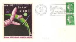 Lancement DIAMANT Satellite STARLET Enveloppe Illustrée Soie Numérotée  Oblitération KOUROU Du 6/2/1975 - Europe