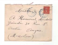 Lettre De 1929, N°199 Seul, Cachet Ambulant Convoyeur Cercle Ondulé De Couleur Bleu De Montchanin à Moulins Pour Angers - Railway Post
