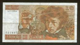 10 FRANCS BERLIOZ BILLET FRANCAIS U.286 N° 521897 SUP IDEAL DEBUTANT CRAQUANT D'ORIGINE 4 TROUS ! 4-3-1976 - 1962-1997 ''Francs''