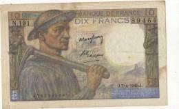 """BILLET 10 FRANCS """"Mineur"""" 1949 - 1871-1952 Gedurende De XXste In Omloop"""