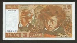 10 FRANCS BERLIOZ BILLET FRANCAIS Z.129 N° 56846 SUP+ IDEAL DEBUTANT CRAQUANT D'ORIGINE 2 TROUS ! 6-2-1975 - 10 F 1972-1978 ''Berlioz''