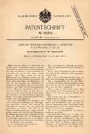 Original Patentschrift - E. Goodrich In Appleton , Wisconsin , 1898 . Centrifugalsortierer Für Papier , Paper !!! - Tools