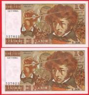 PAIRE DE : 10 FRANCS BERLIOZ 2 BILLETS FRANCAIS TYPE 1972 Y. 306 N° 527021 ET 527022 NEUFS C.6-7-1978.C - 10 F 1972-1978 ''Berlioz''