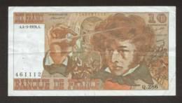 10 FRANCS BERLIOZ BILLET FRANCAIS Q.286 N° 461112 SUP+ IDEAL DEBUTANT CRAQUANT D'ORIGINE 4 TROUS ! 4-3-1976 - 10 F 1972-1978 ''Berlioz''