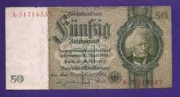 GERMANY 1933 50 Used VF Banknote Reichsmark KM 189 - [ 4] 1933-1945 : Third Reich