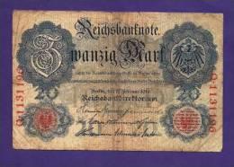 GERMANY 1914 Used VG Banknote 20 Mark (folded Bit Dirty) KM46b - [ 2] 1871-1918 : German Empire