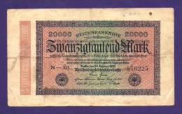 GERMANY 1923 20.000 Mark Used VF KM85 - 20000 Mark