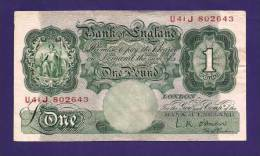 GREAT BRITTAIN 1948-1960 Used VF  Banknote 1  Pound Signed LK O,Brien KM 127c - …-1952 : Before Elizabeth II