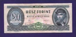HUNGARY 1980 Used VF  Banknote 20 Forint KM 169g - Hongarije