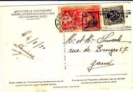 N°279+VIGNETTE ALBERT Ier/10 FRANCS/L'UNION Fait La Force-c.mécan.ANTWERPEN 6-4.VIII.1930 S/CP V.GAND.TB Et Peu Ct - Lettres & Documents
