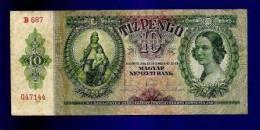HUNGARY 1936 Used VF  Banknote 10 Pengo KM100 - Hongarije