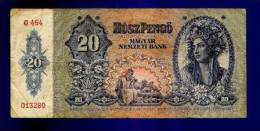 HUNGARY 1941 Used VF  Banknote 20 Pengo KM109 - Hongarije
