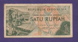 INDONESIA 1961 Used VG  Banknote 1 Rupiah   KM76 (bit Dirty) - Indonesia