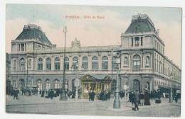 Bruxelles Gare Du Nord Animée Couleurs 1911 - Transport Urbain En Surface