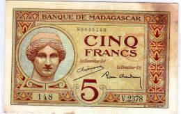 MADAGASCAR , 5 Francs Type 1926 - Madagascar