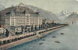 SWITZERLAND - EDEN PALACE - MONTREUX - WATERFRONT VIEW - BOATS IN SEA - VINTAGE ORIGINAL POSTCARD - VD Vaud