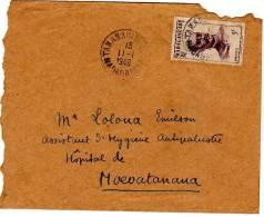 Timbre Sur Lettre  Madagascar 1949 - Cachet De Tananarive Adressé à Un Hopital - Madagascar (1960-...)