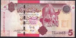 LIBIA (LIBYA) :  5 Dinar – P69 - UNC - Libia