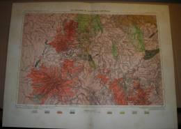 France - Les Volcans De La France Centrale - Tirage D´époque 1879. - Geographical Maps