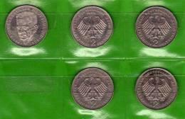 Deutschland 2 DM Schumacher 1988-91 Buchstabe D Stg 10€ Münzen Aus Präge-Anstalt München Extra Set Coins Of Germany - [ 7] 1949-… : RFA - Rep. Fed. Alemana