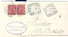CORTONA, AREZZO, TIMBRO TONDORIQUADRATO  SU PIEGO COMUNALE VIAGGIATA  1899 X CITTA DI CASTELLO TIMBRO  TONDORIQUADRATO - Marcofilie
