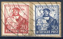 1949 Germany 2 Good Stamps On Piece, Nicely Cancelled Hannover Messe, Michel 104,105 - American/British Zone