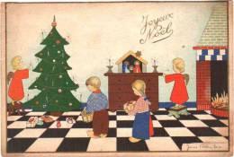 CPA Joyeux Noël - Enfants Et Angelots De James Pennyless, écrite - Pennyless, James