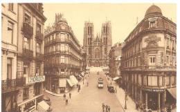 BRUXELLES RUE ET EGLISE SAINTE GUDULE VERS 1930 CIRCULEE - Bruselas (Ciudad)