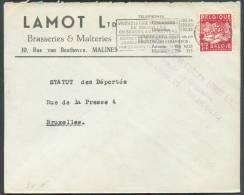 BELGIQUE BELGIUM - Lettre Affr. Industrie 1Fr.75 De Bruxelles Avec En-tête Illustré LAMOT Ltd Brasseries & Malteries à M - Bières