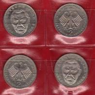 Deutschland 2 DM Ludwig Erhard 1988 Buchstabe D,F,G,J Stg 21€ Münzen Aus Den 4 Prägeanstalten Extra Set Coins Of Germany - 2 Mark
