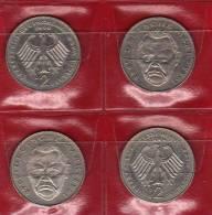 Deutschland 2 DM Ludwig Erhard 1989 Buchstabe D,F,G,J Stg 10€ Münzen Aus Den 4 Prägeanstalten Extra Set Coins Of Germany - 2 Mark