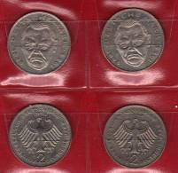 Deutschland 2 DM Ludwig Erhard 1990 Buchstabe D,F,G,J Stg 10€ Münzen Aus Den 4 Prägeanstalten Extra Set Coins Of Germany - 2 Mark