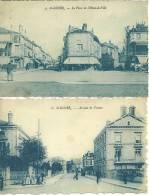 52 CPA Saint Dizier Deux Cartes Place Hotel De Ville Et Avenue De Verdun Commerces Animation - Saint Dizier
