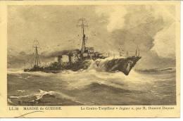 """24 - LE CONTRE-TORPILLEUR """" JAGUAR """" PAR R. DUMONT DUPARE ( BATEAU MARINE DE GUERRE ) - Guerre"""