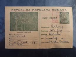 ENTIER CARTE POSTALE ILLUSTREE DE ROUMANIE ROMANIA 1953 => SUISSE LETTRE COVER POSTAL STATIONARY - Covers & Documents