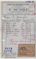 Lapoutoie  FACTURE INSTRUMENT LA CONCORDIA Avec Récépissé De Mandat1934 - 1900 – 1949