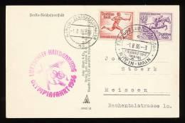 DEUTSCHES REICH  Zeppelin Olympiafahrt 1936 Luftschiff Hindenburg - Postkarte Olympisches Dorf - Luchtpost
