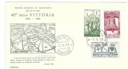 FDC - CAPITOLIUM   - 40° ANNIVERSARIO DELLA  VITTORIA  ANNO 1958  - ITALIA REPUBBLICA - FIRST DAY COVER - FDC