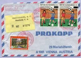 Air Mail Letter Registered TEGUCIGALPA To VIENNA WIEN 1990 Fussball Soccer (139) - Honduras