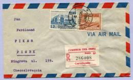 Air Mail Registered Letter LIMA PERU To PISEK Tschechoslovakia 1952 (146) - Peru
